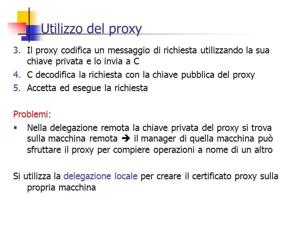 Utilizzo del proxy Il proxy codifica un messaggio di richiesta utilizzando la sua chiave privata e lo invia a C.