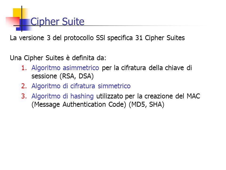 Cipher Suite La versione 3 del protocollo SSl specifica 31 Cipher Suites. Una Cipher Suites è definita da: