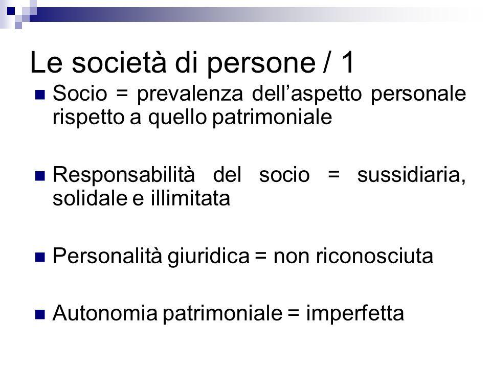 Le società di persone / 1Socio = prevalenza dell'aspetto personale rispetto a quello patrimoniale.