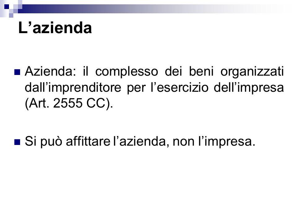 L'aziendaAzienda: il complesso dei beni organizzati dall'imprenditore per l'esercizio dell'impresa (Art. 2555 CC).