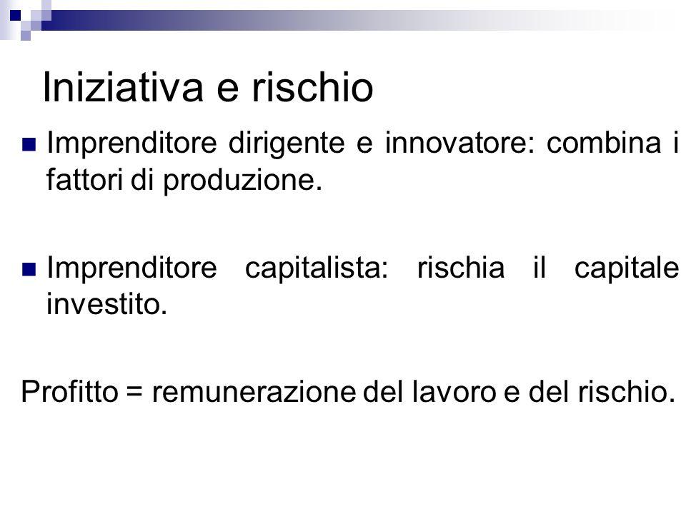 Iniziativa e rischioImprenditore dirigente e innovatore: combina i fattori di produzione. Imprenditore capitalista: rischia il capitale investito.