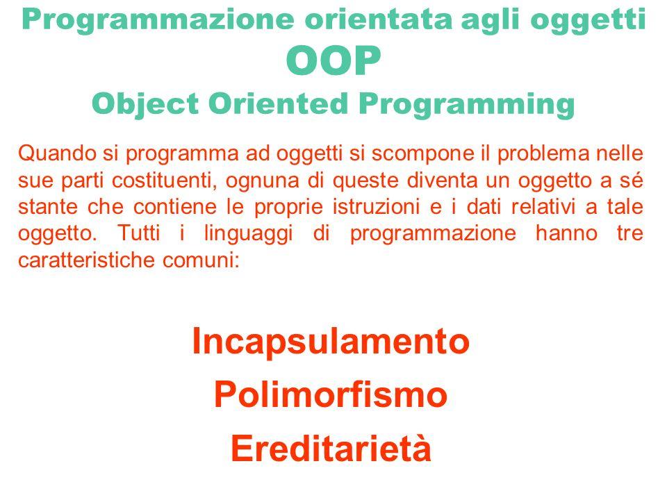 Programmazione orientata agli oggetti OOP Object Oriented Programming