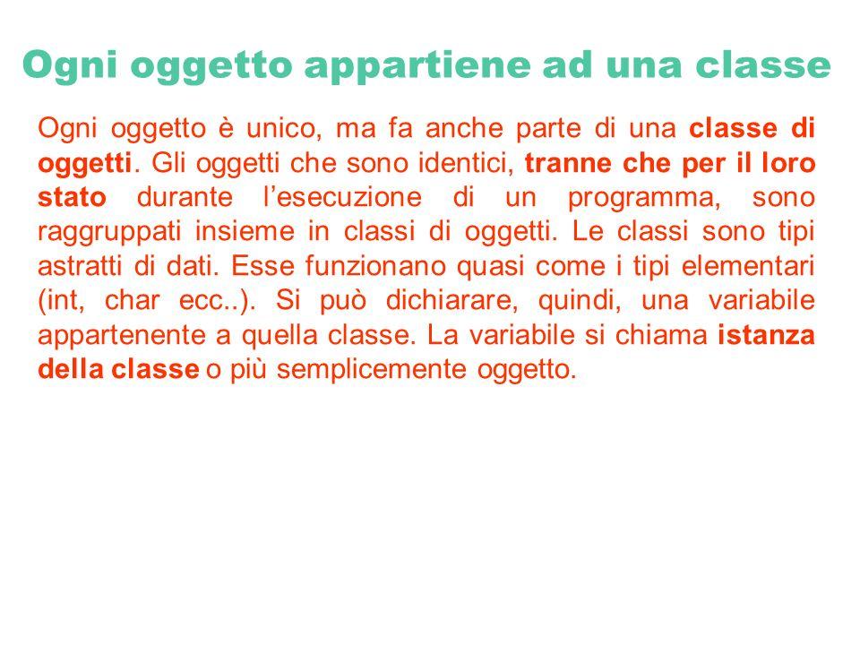 Ogni oggetto appartiene ad una classe