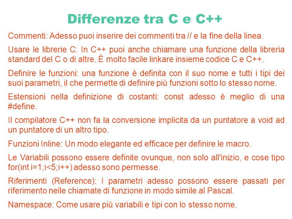 Differenze tra C e C++ Commenti: Adesso puoi inserire dei commenti tra // e la fine della linea.