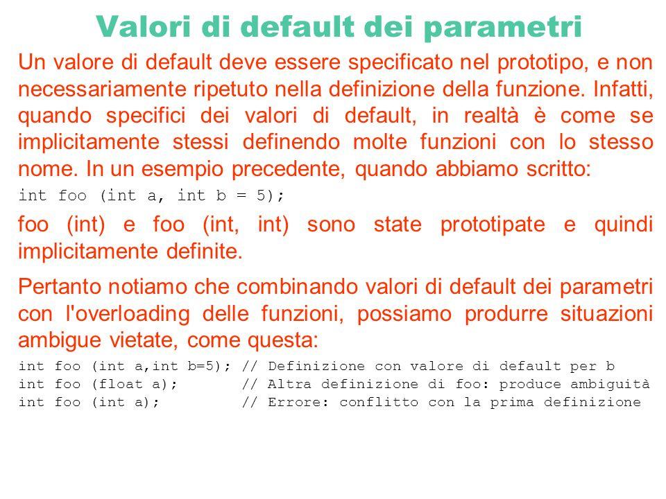 Valori di default dei parametri