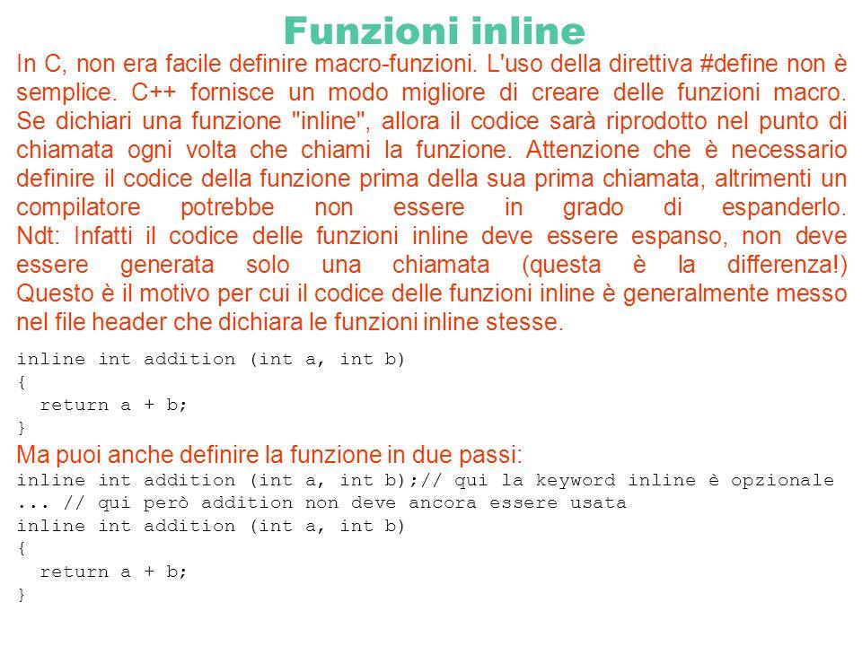 Funzioni inline