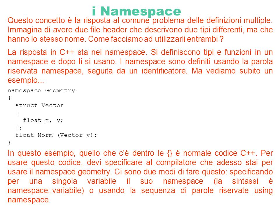 i Namespace