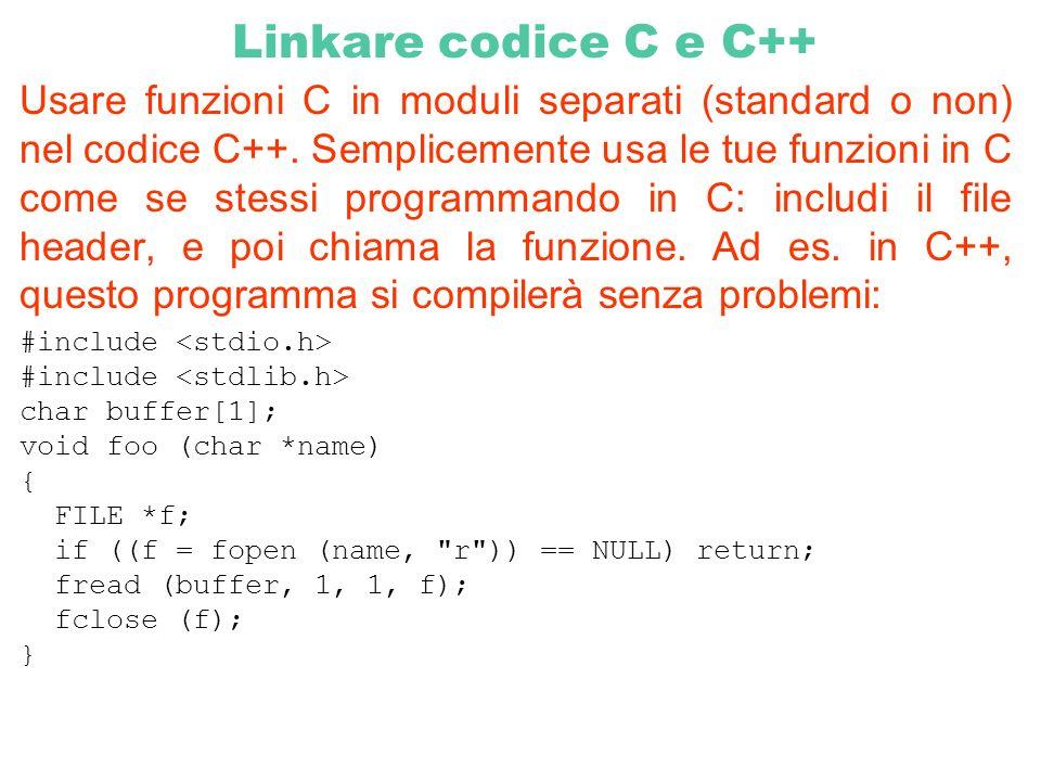 Linkare codice C e C++