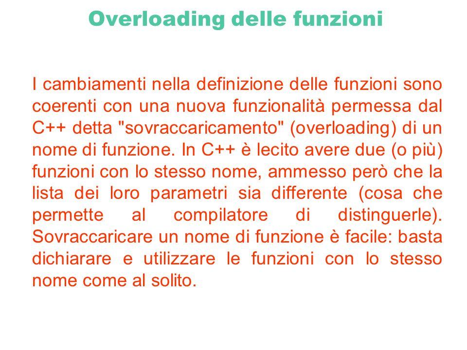 Overloading delle funzioni