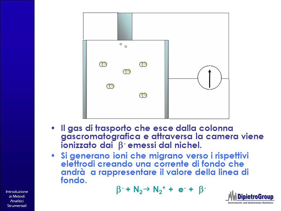 Il gas di trasporto che esce dalla colonna gascromatografica e attraversa la camera viene ionizzato dai b- emessi dal nichel.