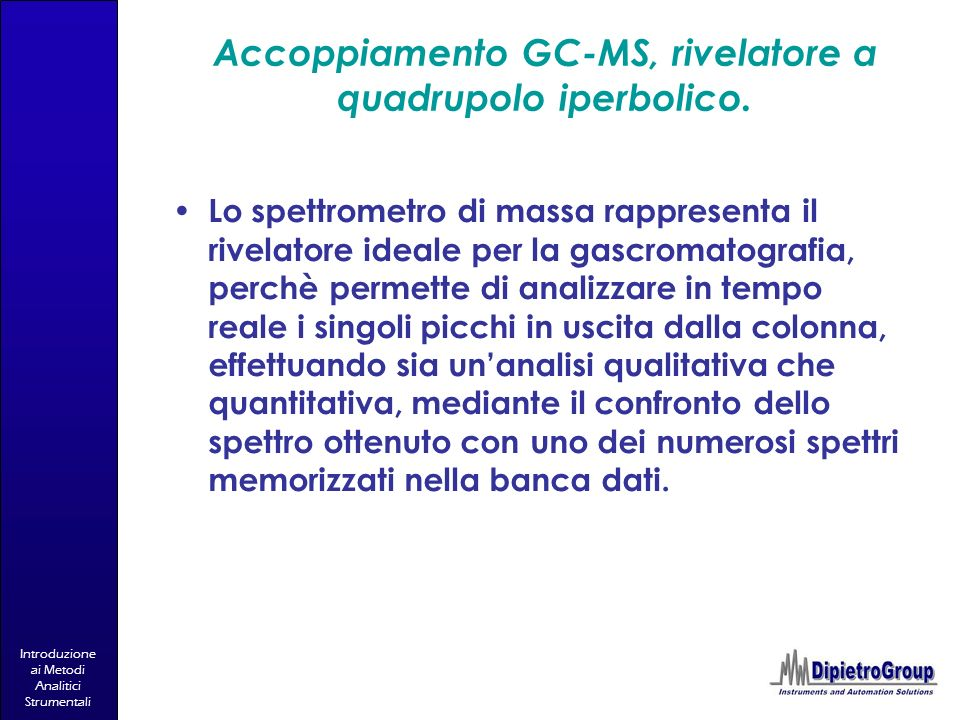 Accoppiamento GC-MS, rivelatore a quadrupolo iperbolico.
