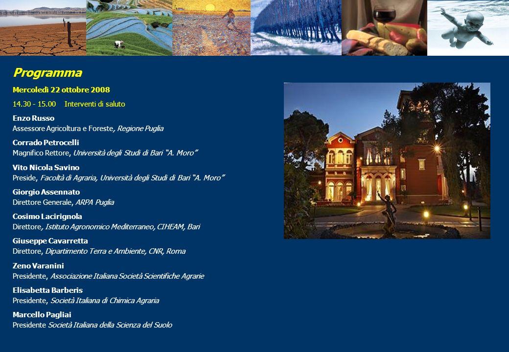 Programma Mercoledì 22 ottobre 2008 14.30 - 15.00 Interventi di saluto