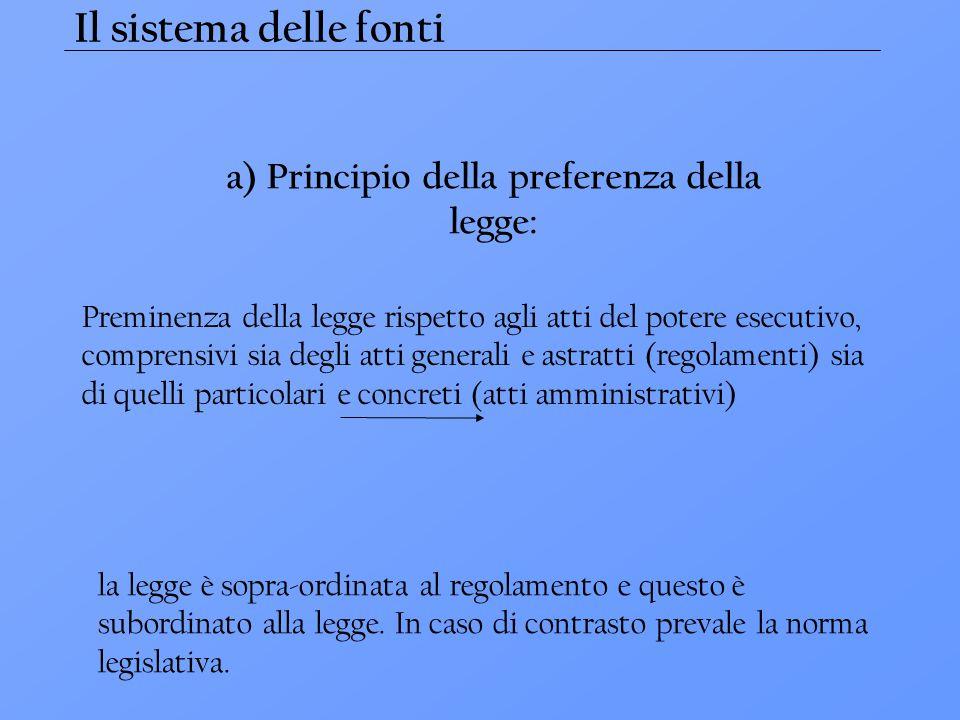 a) Principio della preferenza della legge: