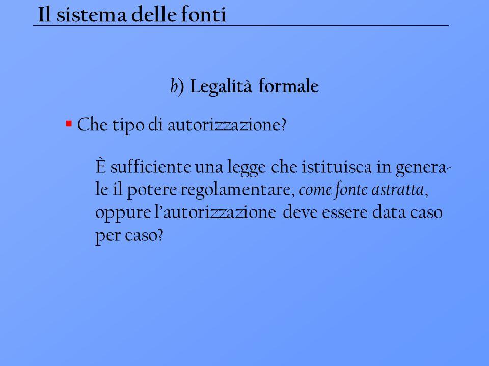 Il sistema delle fonti b) Legalità formale Che tipo di autorizzazione