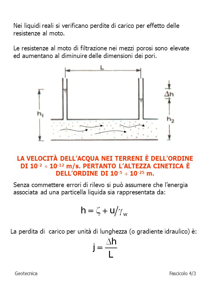 La perdita di carico per unità di lunghezza (o gradiente idraulico) è: