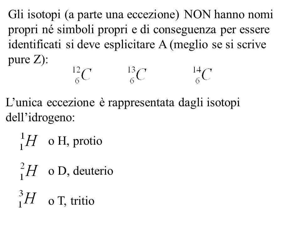 Gli isotopi (a parte una eccezione) NON hanno nomi propri né simboli propri e di conseguenza per essere identificati si deve esplicitare A (meglio se si scrive pure Z):