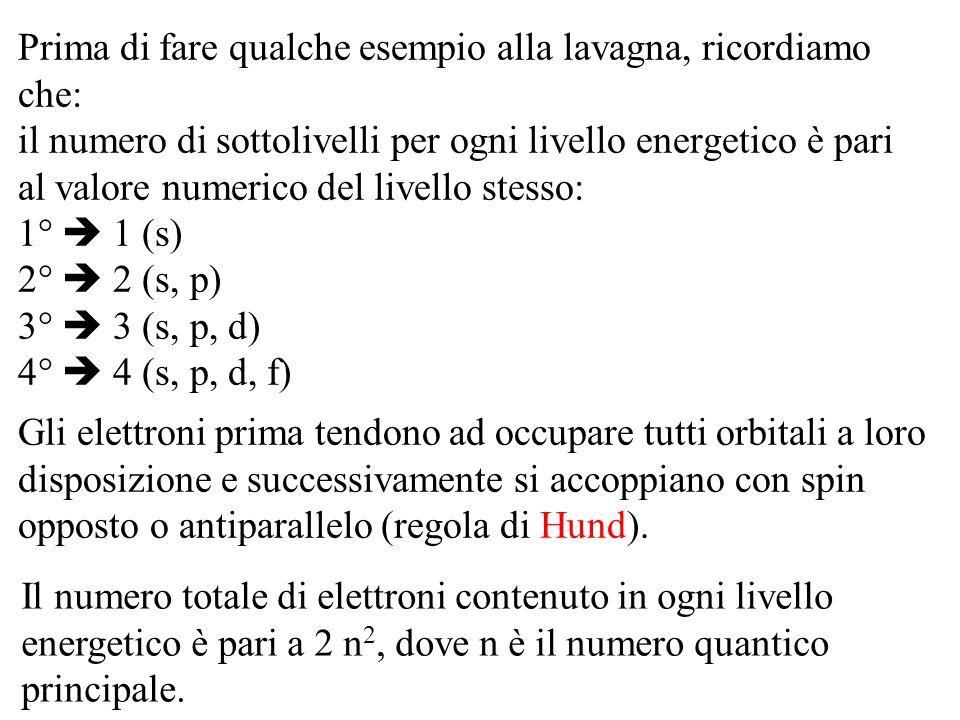 Prima di fare qualche esempio alla lavagna, ricordiamo che: il numero di sottolivelli per ogni livello energetico è pari al valore numerico del livello stesso: 1°  1 (s) 2°  2 (s, p) 3°  3 (s, p, d) 4°  4 (s, p, d, f)