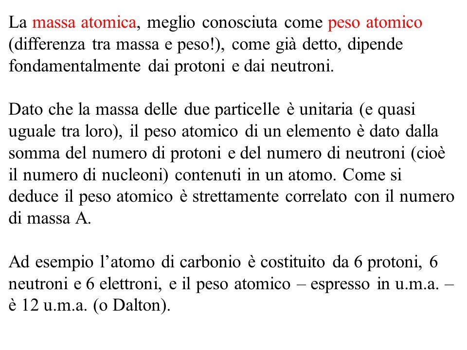 La massa atomica, meglio conosciuta come peso atomico (differenza tra massa e peso!), come già detto, dipende fondamentalmente dai protoni e dai neutroni.