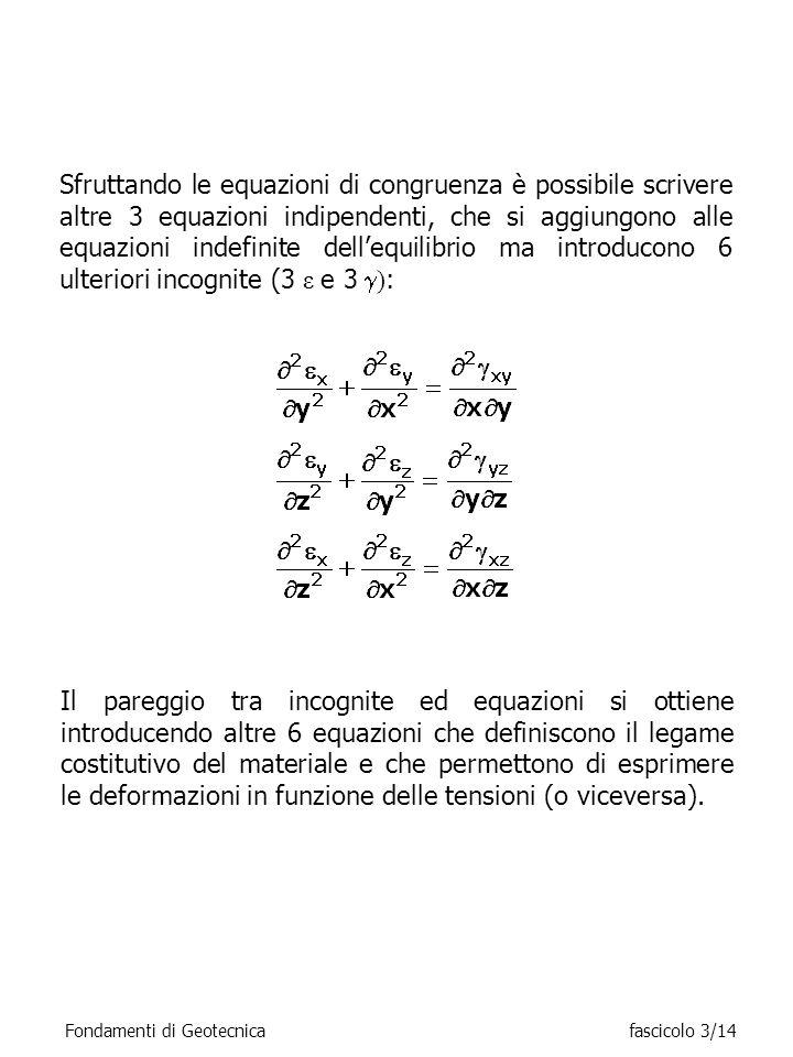Sfruttando le equazioni di congruenza è possibile scrivere altre 3 equazioni indipendenti, che si aggiungono alle equazioni indefinite dell'equilibrio ma introducono 6 ulteriori incognite (3 ε e 3 ):