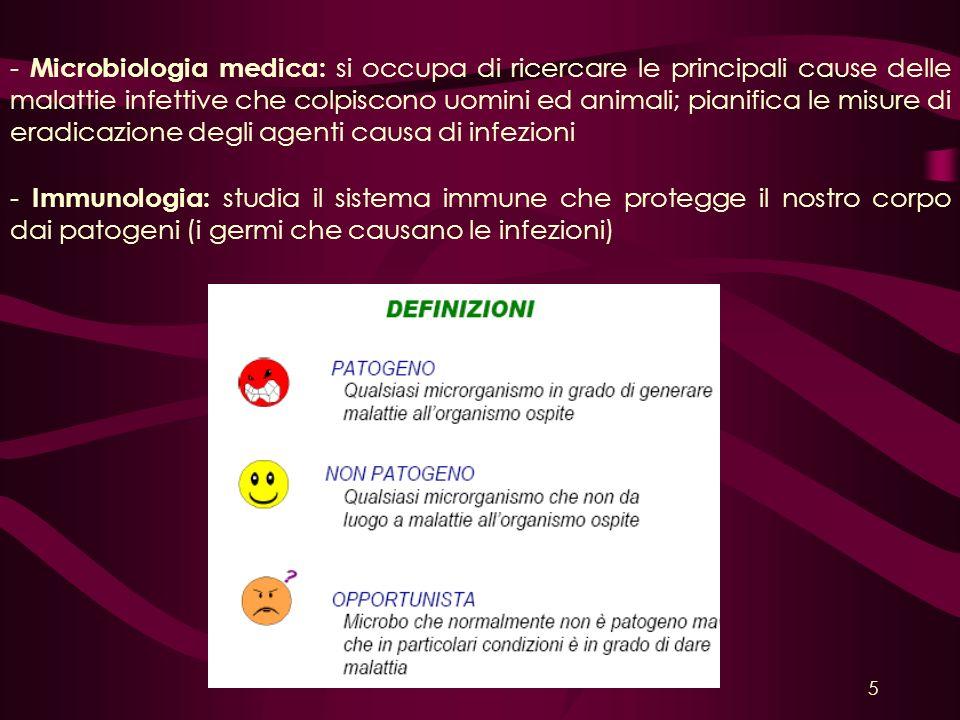 - Microbiologia medica: si occupa di ricercare le principali cause delle malattie infettive che colpiscono uomini ed animali; pianifica le misure di eradicazione degli agenti causa di infezioni