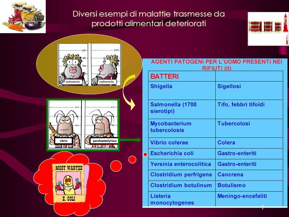 Diversi esempi di malattie trasmesse da prodotti alimentari deteriorati