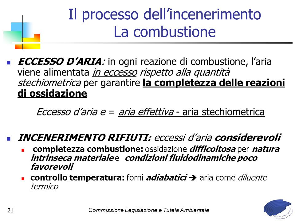 Il processo dell'incenerimento La combustione