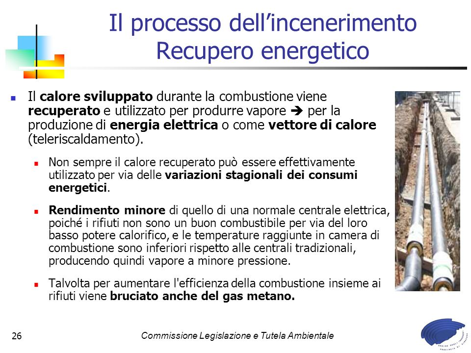 Il processo dell'incenerimento Recupero energetico