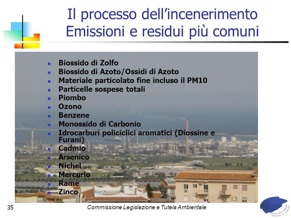 Il processo dell'incenerimento Emissioni e residui più comuni