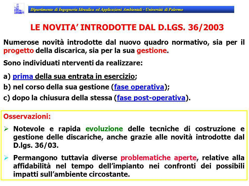 LE NOVITA' INTRODOTTE DAL D.LGS. 36/2003