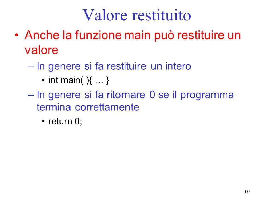 Valore restituito Anche la funzione main può restituire un valore