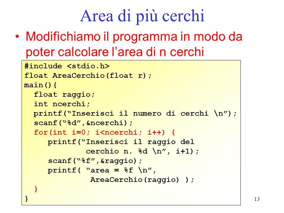 Area di più cerchi Modifichiamo il programma in modo da poter calcolare l'area di n cerchi. #include <stdio.h>