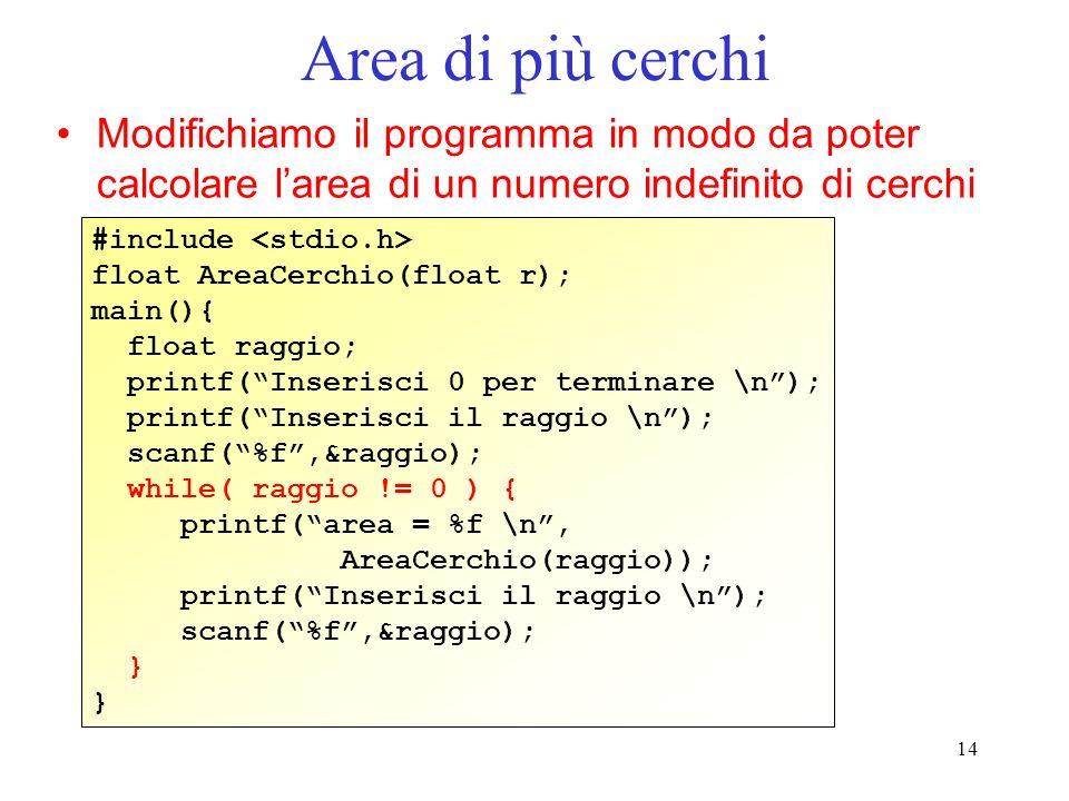 Area di più cerchi Modifichiamo il programma in modo da poter calcolare l'area di un numero indefinito di cerchi.
