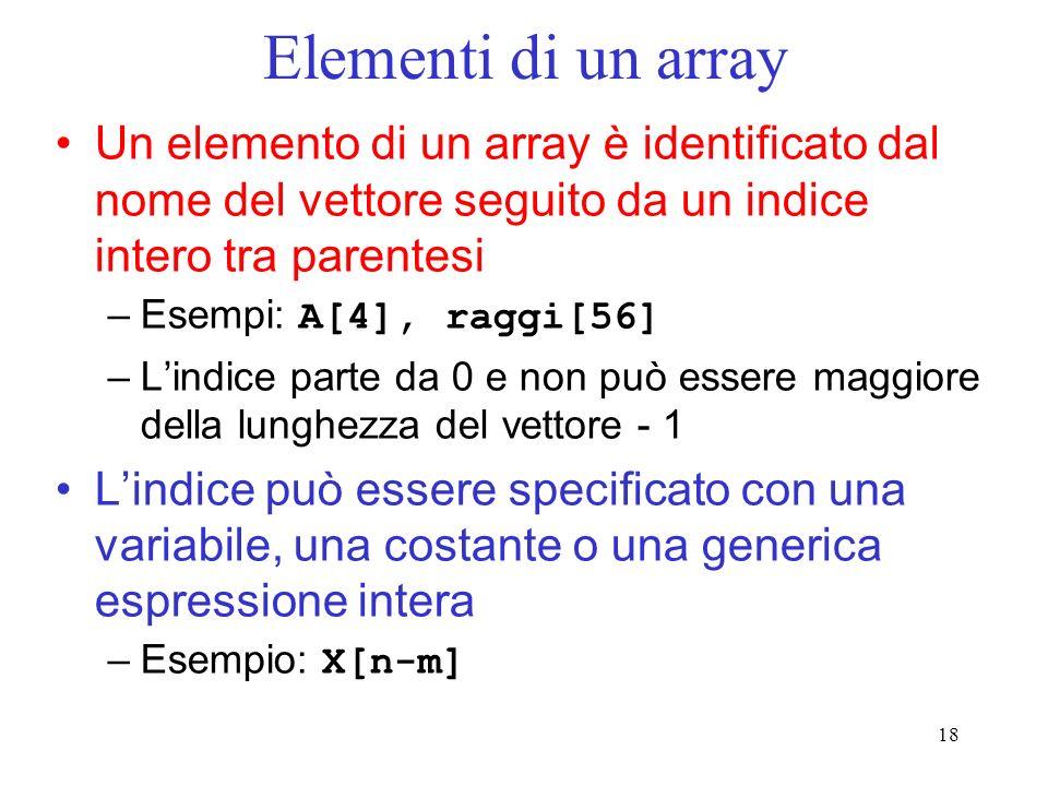 Elementi di un array Un elemento di un array è identificato dal nome del vettore seguito da un indice intero tra parentesi.
