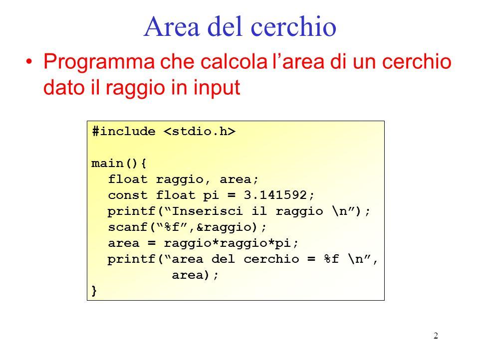 Area del cerchio Programma che calcola l'area di un cerchio dato il raggio in input. #include <stdio.h>