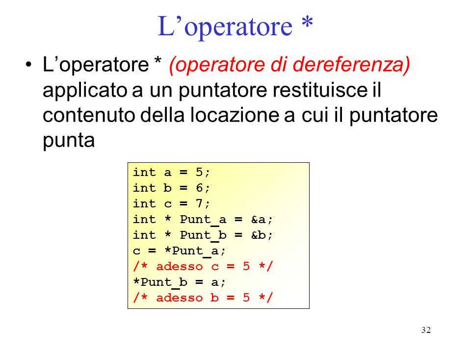 L'operatore * L'operatore * (operatore di dereferenza) applicato a un puntatore restituisce il contenuto della locazione a cui il puntatore punta.