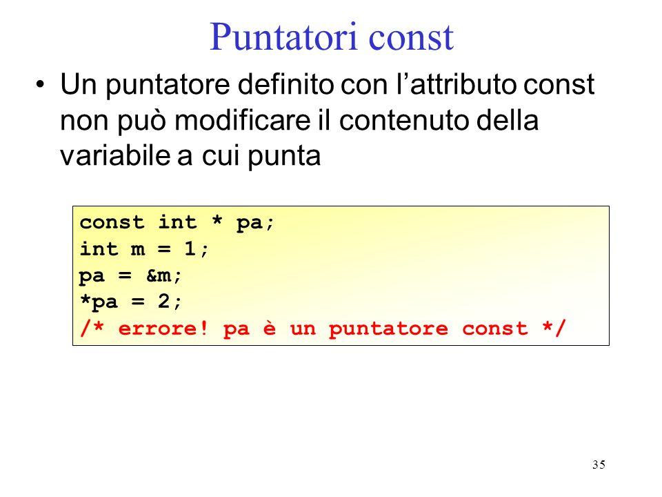 Puntatori const Un puntatore definito con l'attributo const non può modificare il contenuto della variabile a cui punta.