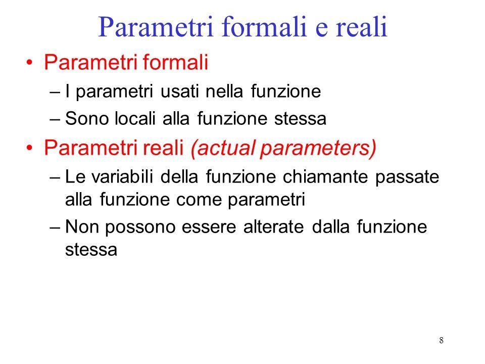 Parametri formali e reali