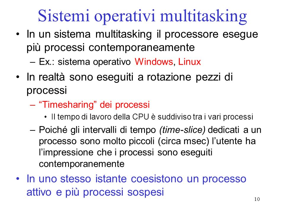Sistemi operativi multitasking