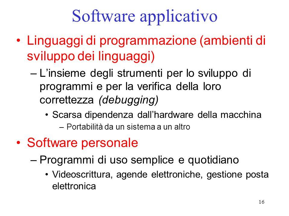 Software applicativo Linguaggi di programmazione (ambienti di sviluppo dei linguaggi)