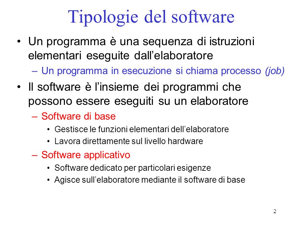 Tipologie del software
