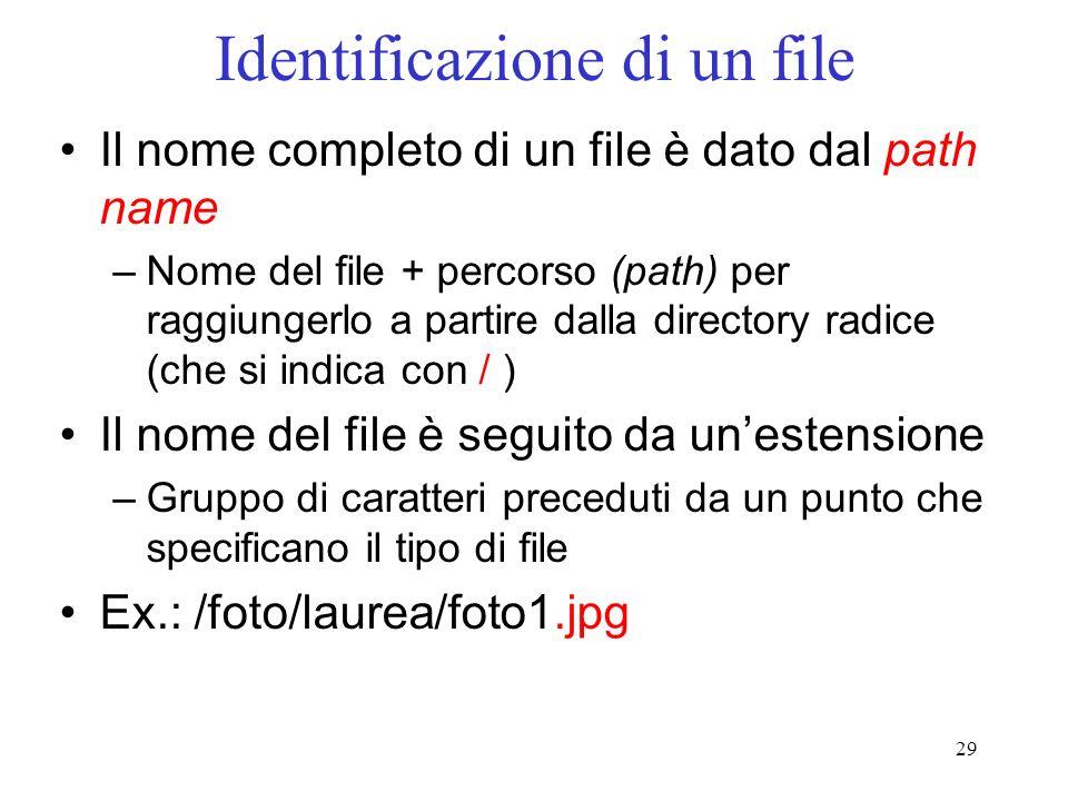 Identificazione di un file