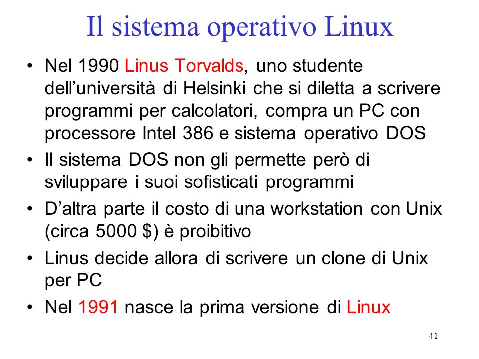 Il sistema operativo Linux