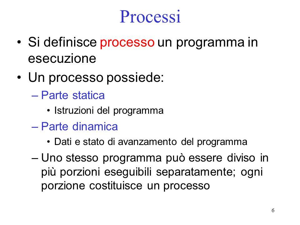 Processi Si definisce processo un programma in esecuzione