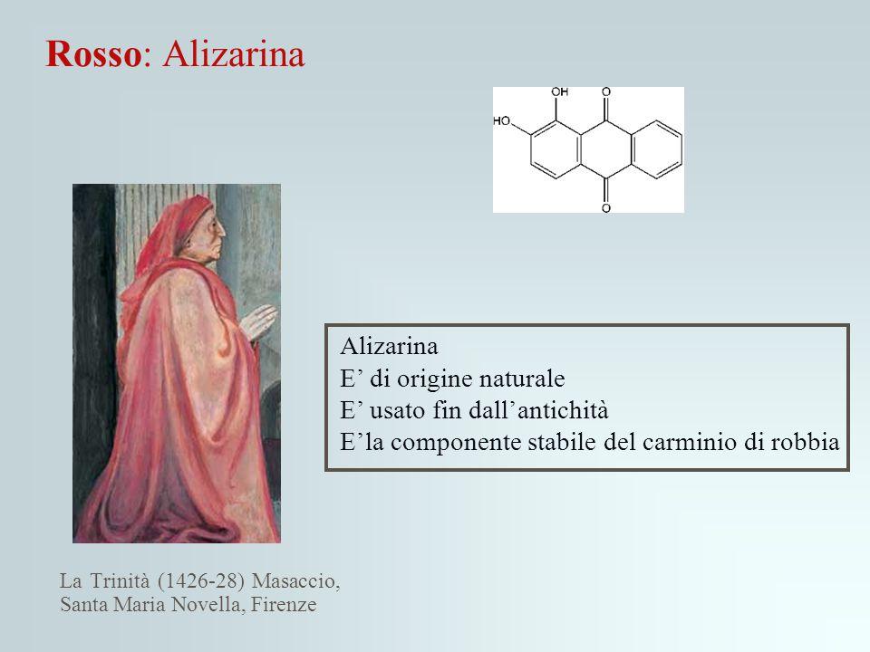 Rosso: Alizarina Alizarina E' di origine naturale