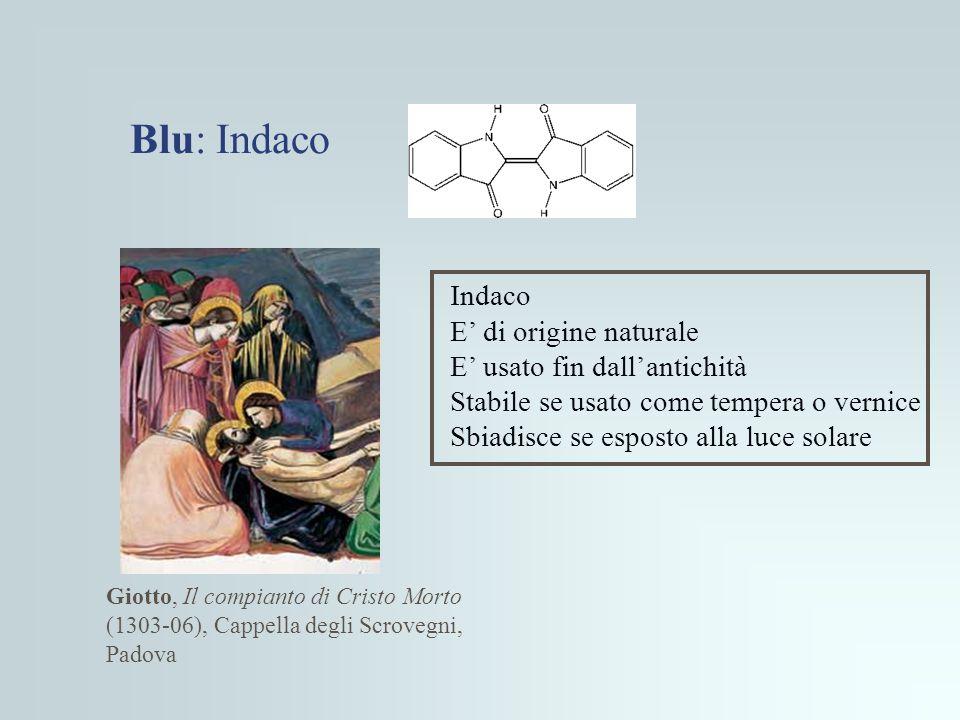Blu: Indaco Indaco E' di origine naturale E' usato fin dall'antichità
