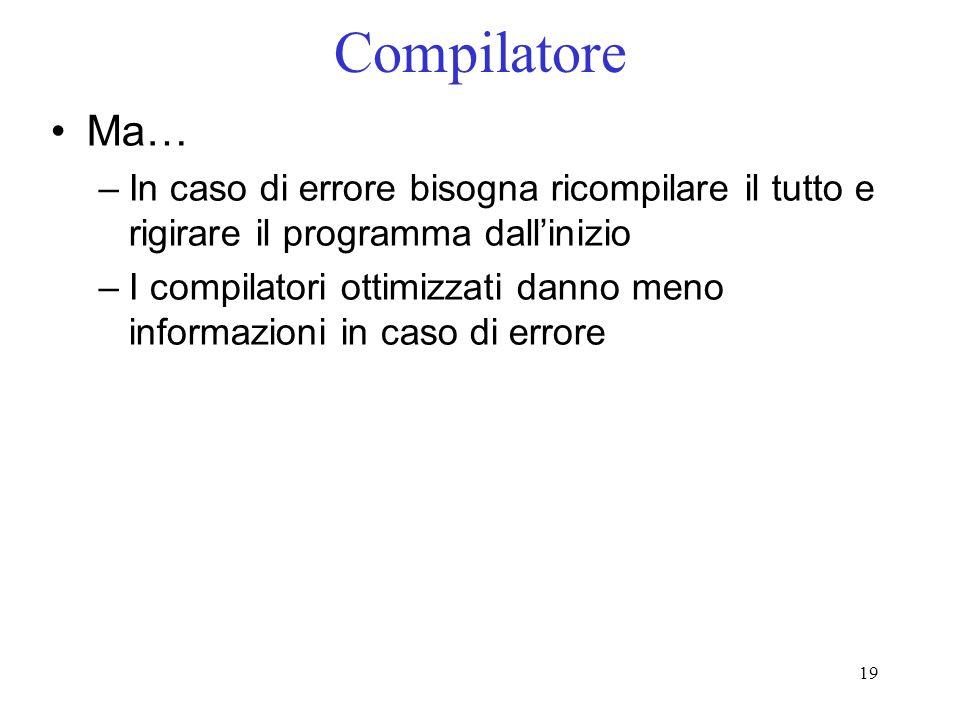 CompilatoreMa… In caso di errore bisogna ricompilare il tutto e rigirare il programma dall'inizio.
