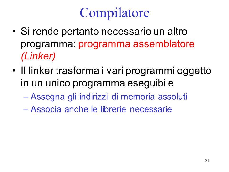 CompilatoreSi rende pertanto necessario un altro programma: programma assemblatore (Linker)