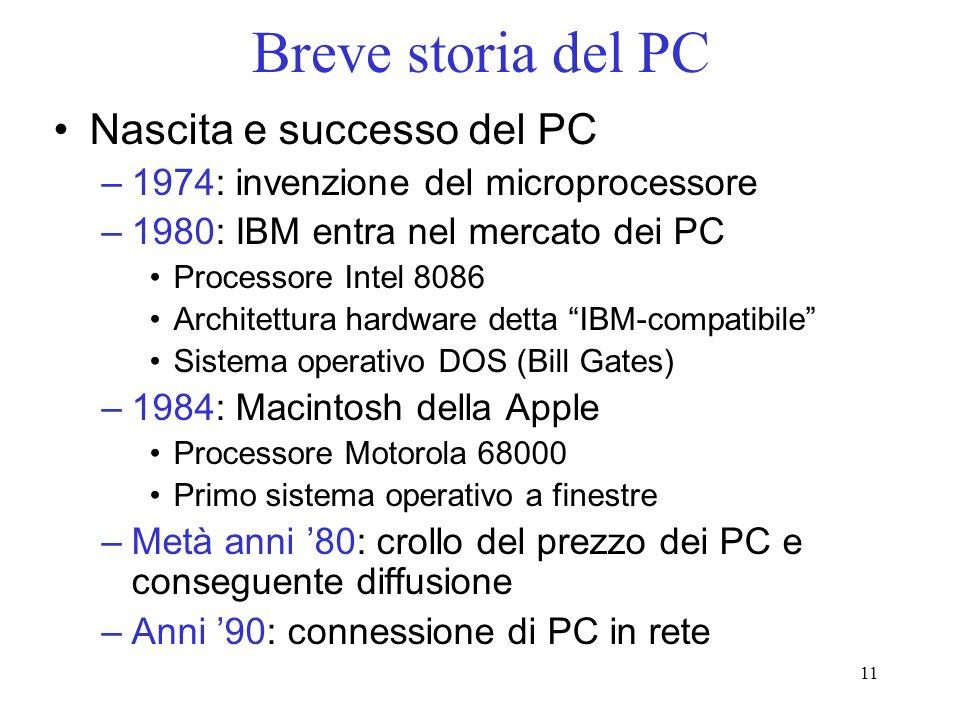 Breve storia del PC Nascita e successo del PC