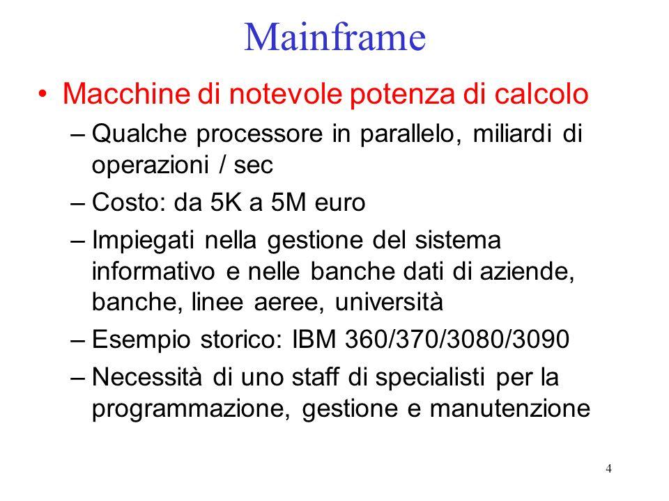 Mainframe Macchine di notevole potenza di calcolo