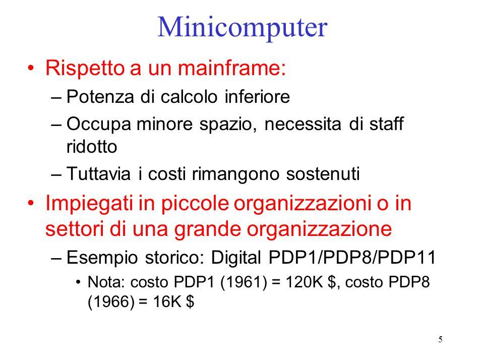 Minicomputer Rispetto a un mainframe:
